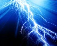 Intense lightning. On a blue background Stock Image