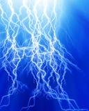 Intense lightning. On a soft blue background Royalty Free Stock Photo