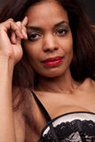 Intense look of a real afroamerican woman Stock Image