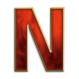 Intense n. Capital letter n in fiery red & gold isolated on white Stock Images