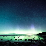 Intense northern lights (Aurora borealis) over Baltic sea Stock Photography