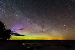 Intense northern lights Aurora borealis over Baltic sea Royalty Free Stock Image