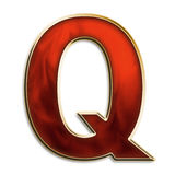 Intense q. Capital letter Q in fiery red & gold isolated on white Royalty Free Stock Photo