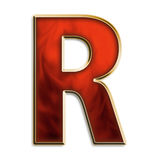 Intense r. Capital letter R in fiery red & gold isolated on white Stock Photo