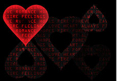 Intense red heart on black. Text background Stock Photos