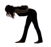 Intense Side Stretch Pose, Silhouette Royalty Free Stock Photos