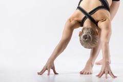 Intense Side Stretch Pose Royalty Free Stock Images