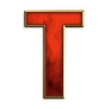 Intense T. Capital letter T in fiery red & gold isolated on white Stock Photography