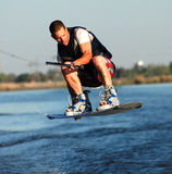 Intense Wakeboarding. Intense Concentration during a Wake-boarding Competition Royalty Free Stock Photo