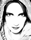 Intense Woman Staring Ahead. An intense stare from a woman wearing a scarf in black and white with high contrast stock photos