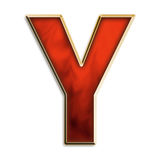 Intense Y. Capital letter Y in fiery red & gold isolated on white Royalty Free Stock Images