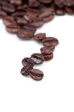 Intensely dark coffee beans. Copy space for your text Stock Photos