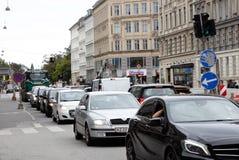 Intensief verkeer in Kopenhagen stock foto
