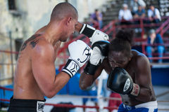 Intensity. Boxing in Havana, Cuba.  Intense moments before the strike Royalty Free Stock Image