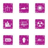 Intensity icons set, grunge style. Intensity icons set. Grunge set of 9 intensity vector icons for web isolated on white background Stock Image