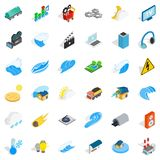 Intensity icons set, isometric style. Intensity icons set. Isometric style of 36 intensity vector icons for web isolated on white background Royalty Free Stock Photos