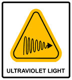 Intensity Ultraviolet Light Protect Your Eyes and Skin UV. Vector sticker label for public places Stock Image