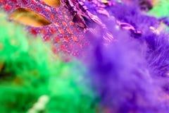 Intensiv färg - Mardi Gras - Carnaval bakgrund i lilor och gräsplan - suddiga fjädrar och en maskering på guld- bakgrund arkivfoto