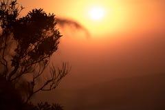 Intensiv röd orange soluppgång ovanför svagt synliga kullar, med ett s royaltyfri bild