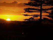 Intensiva färger av en briljant solnedgång Arkivbild