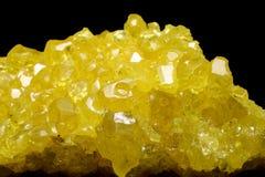 Intensiva gula sulphurkristaller Fotografering för Bildbyråer