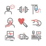Intensive Care Unit. ICU line icons. Hospital department. Health center. Vector sign for web graphics. Intensive Care Unit ICU icons. Hospital department stock illustration