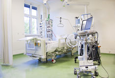 Intensive care unit with monitors. Intensive care unit and trauma care unit of a hospitals emergency department stock photo
