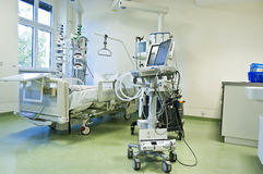Intensive care unit with monitors. Intensive care unit and trauma care unit of a hospital's emergency department royalty free stock photo