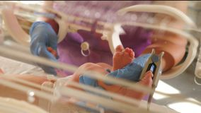 Intensive care unit for newborn children. ICU incubator sensors and tubes connected to infant legs and feet. New life. Saving concept stock footage