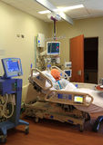 Intensive Care Unit Room. With life size dummy body, vertical view stock image