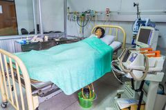 Intensive care unit simulation room. CHIANG MAI, THAILAND - JULY 03 : Dummy patient on the bed use for trainer nursing student in nursing university on July 03 stock image