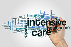 Intensive care word cloud. Concept on grey background royalty free stock photo