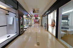 Intensive storefront in home decoration mall. Home remodel shop in red star meikailong house decoration mall, xiamen city, china. it is the largest home royalty free stock image