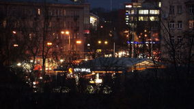 Intensive traffic flow at night in the city stock video footage