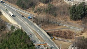 Intensive traffic on motorway, many cars, trucks moving on road. Stock footage stock video
