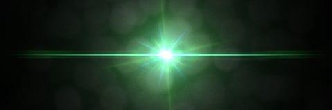Intensivt grönt baner för textur för samkopiering för linssignalljuseffekt med bokeheffekt framme av en svart bakgrund Royaltyfri Fotografi