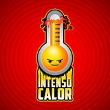 Intenso calor - intense heat spanish text. Vector weather warning sign with evil cartoon face, exploding thermometer icon with flames Stock Images