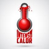Intensocalor - intense hitte Spaanse tekst, vectorweerwaarschuwingsbord stock illustratie