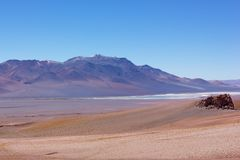 Intensywny pastel barwił krajobraz Atacama pustyni krajobraz po wschodu słońca, Chile Obrazy Royalty Free