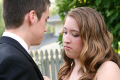 Intent Prom Girl Fixing Boutonniere Royalty Free Stock Images
