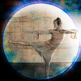 Intention Attention. Female dancer in martial arts like pose. Photo based illustration Royalty Free Stock Photos