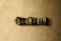 INTENTION - close-up of grungy vintage typeset word on metal backdrop Royalty Free Stock Images
