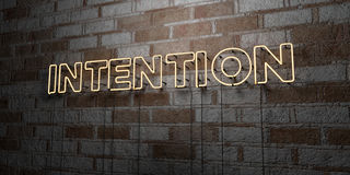 INTENTION - Glowing Neon Sign on stonework wall - 3D rendered royalty free stock illustration Stock Photos