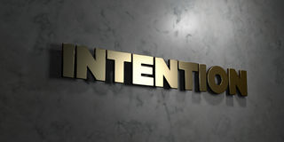 Intention - Gold text on black background - 3D rendered royalty free stock picture. This image can be used for an online website banner ad or a print postcard Stock Images