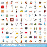 100 intention icons set, cartoon style. 100 intention icons set in cartoon style for any design vector illustration Royalty Free Stock Photography