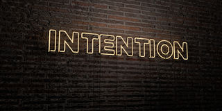 INTENTION -Realistic Neon Sign on Brick Wall background - 3D rendered royalty free stock image Royalty Free Stock Photos