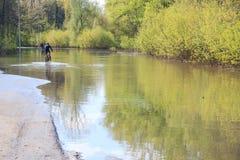 Intento de Bycyclists para superar el agua después de la inundación de la primavera Foto de archivo libre de regalías