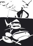 Intento del pescador para coger tiburones ilustración del vector