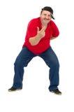 Intentos maduros gordos del individuo para bailar rap Fotos de archivo