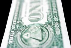 intenzionale potata, anteriore e posteriore della nota del Un-dollaro, vaghe Immagini Stock Libere da Diritti